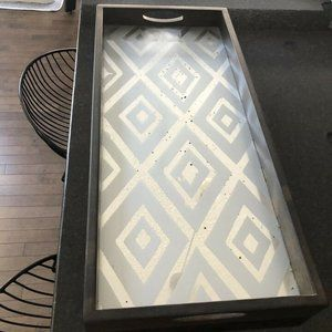 West Elm Wood Accent Tray w. IKAT Mirror Insert